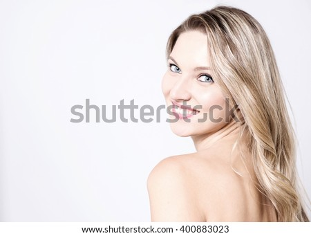 Portrait  of attractive lady  turning back