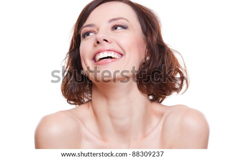 portrait of attractive laughing model. isolated on white background - stock photo