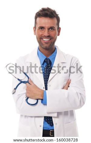 Portrait of attractive male doctor - stock photo