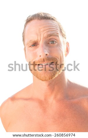 Portrait of attractive man Isolated on white background. - stock photo