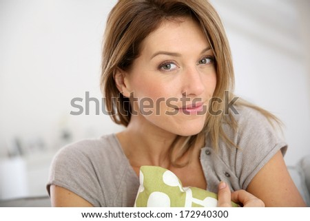 Portrait of attractive middle-aged blond woman - stock photo