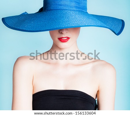 Portrait of attractive sexy woman with hat - stock photo