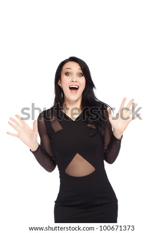 portrait of attractive smile excited woman holding hands palms up, isolated over white background concept of happy, pretty winning success girl