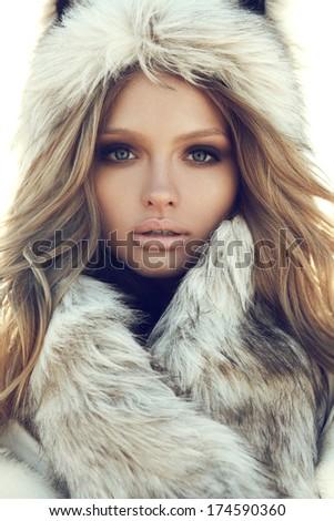 Portrait of attractive stylish woman in fur - stock photo