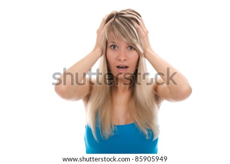 portrait of attractive surprised excited scared, terrified teenage girl, isolated over white background