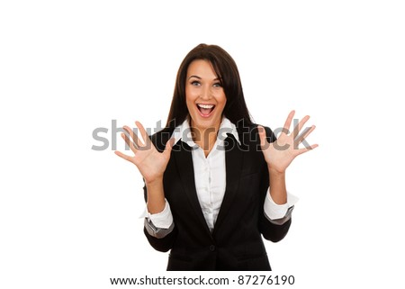 portrait of attractive surprised excited smile business woman hold hands open palms, isolated over white background