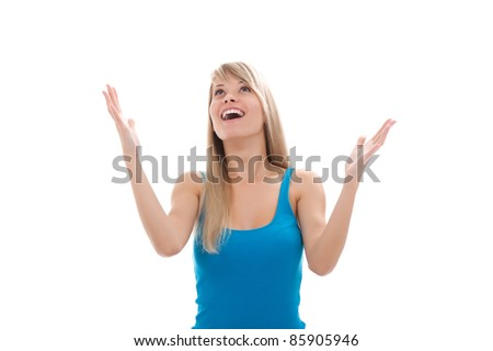 portrait of attractive surprised excited smile teenage girl, isolated over white background - stock photo
