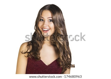 Portrait of attractive surprised excited smile teenage girl, mouth open