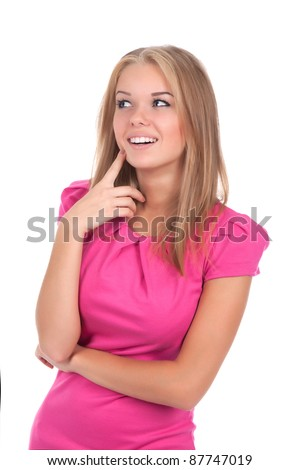 portrait of attractive teenage girl smile think looking up in pink dress, isolated over white background