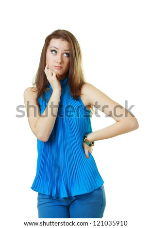portrait of attractive teenage girl think looking up, wear blue shirt, brown long hair, isolated over white background concept of pondering thoughtful student, young pretty woman - stock photo