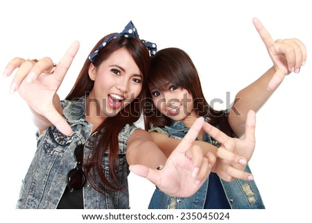 portrait of attractive two best friend having fun - stock photo