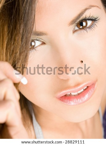 Portrait of attractive woman close-up