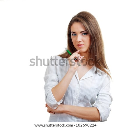 portrait of attractive woman think looking to the camera with pen ina hand thoughtful
