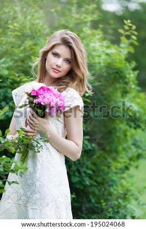Preteen Girl Bunch Field Flowers Stock Photo 15363763
