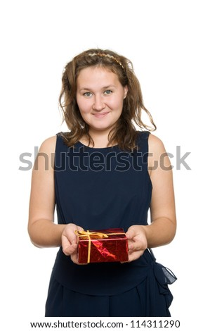 portrait of attractive woman with present over white