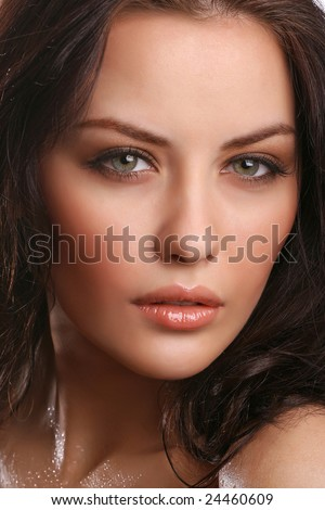 portrait of attractive young adult isolated on white - stock photo