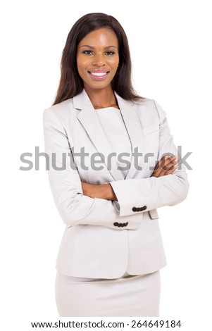 portrait of attractive young african american career woman - stock photo