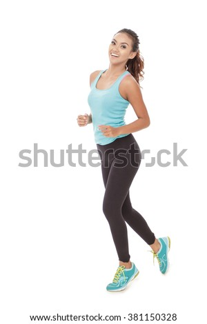 portrait of attractive young asian woman running pose isolated over white background - stock photo
