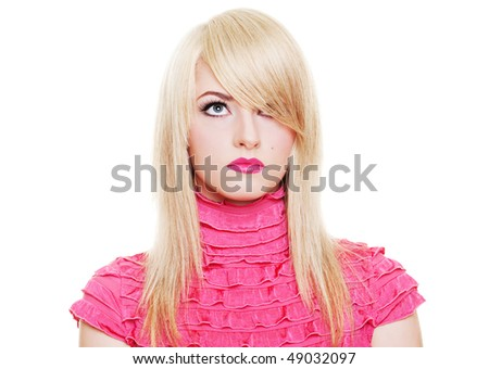 portrait of attractive young blonde in pink dress. isolated on white - stock photo