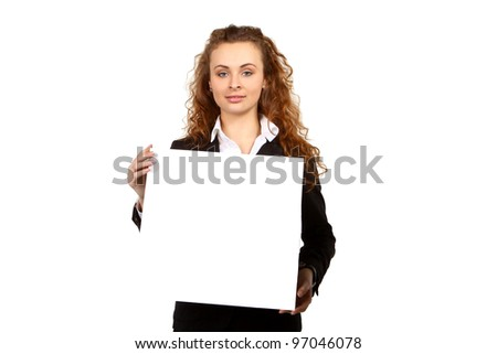 Portrait of attractive young business woman showing blank signboard, placard or banner. Isolated on white background