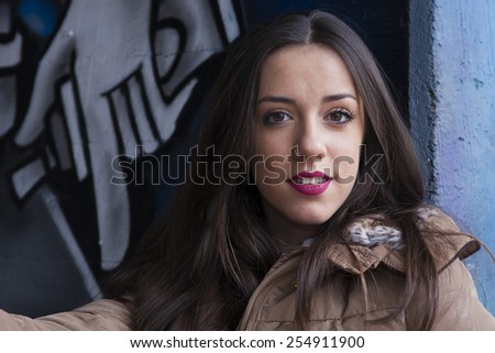 portrait of attractive young girl - stock photo