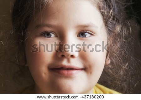 portrait of attractive young girl. indoor - stock photo