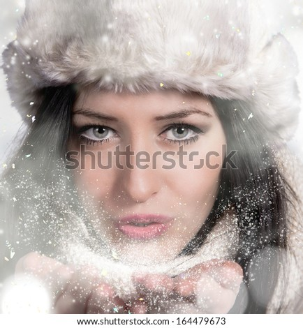 Portrait of attractive young woman in wintertime