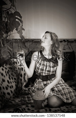 portrait of attractive young woman. indoor shot - stock photo