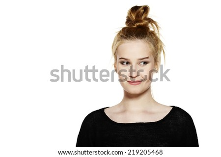 Portrait of attractive young woman isolated on white background. - stock photo
