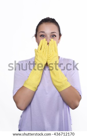 Portrait of attractive young woman with cleaning gloves. Isolated white background. - stock photo