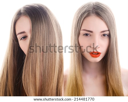 Portrait of attractive young woman with red lipstick, - stock photo