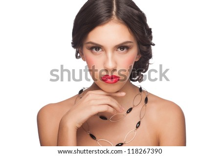 Portrait of attractive young woman with red lipstick and beautiful hairstyle. Isolated on white background - stock photo