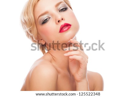 Portrait of attractive young woman with red lipstick and  short blond hair - stock photo