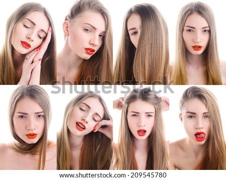 Portrait of attractive young woman with red lipstick, Lightbox - stock photo