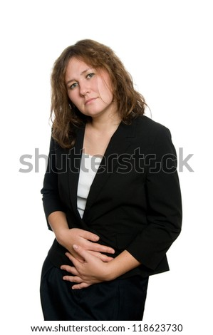 portrait of attrictive woman with stomachache over white