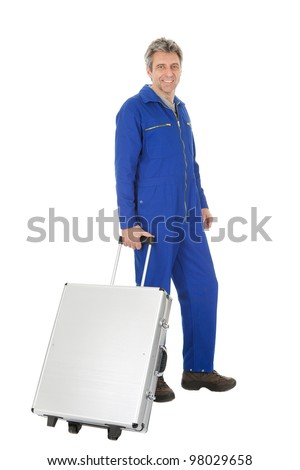 Portrait of automechanic standing with toolbox. Isolated on white - stock photo
