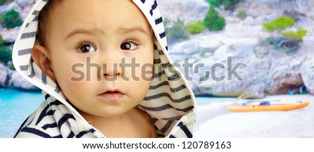 Portrait Of Baby Boy at a beach, outdoor