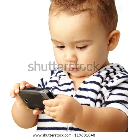 Portrait Of Baby Boy Using Cell Phone Isolated On White Background - stock photo