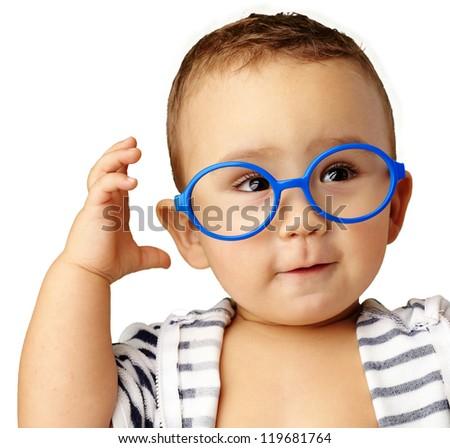 Portrait Of Baby Boy Wearing Blue Eye wear Isolated On White Background - stock photo