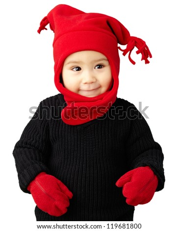 Portrait Of Baby Boy Wearing Warm Clothing Isolated On White Background - stock photo