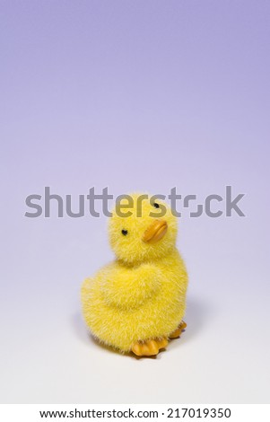 Portrait of Baby Duck Toy Over Violet Background Vertical Photograph - stock photo