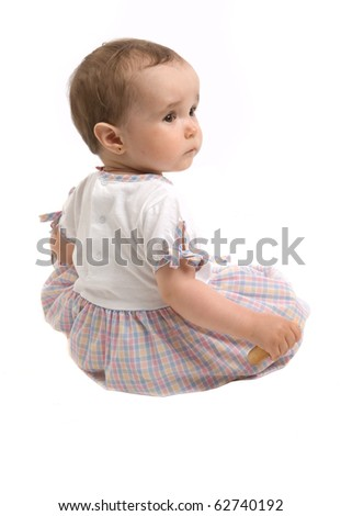 Portrait of baby girl over a white background