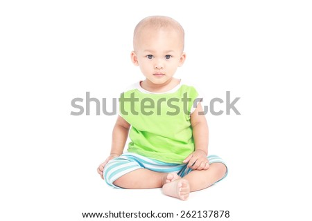 Portrait of baby isolated white background