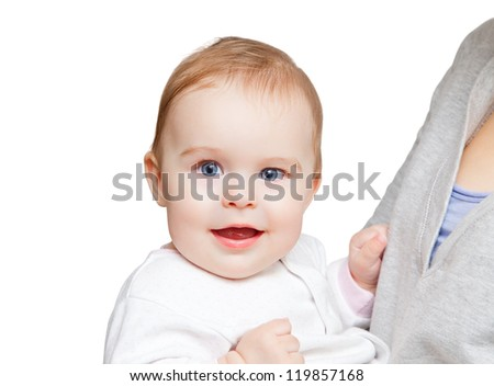 Portrait of baby on white background - stock photo