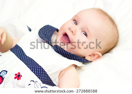 portrait of baby . sweet baby,laughing little girl - stock photo