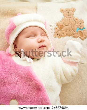 portrait of baby . sweet baby, little girl sleeping - stock photo