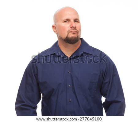 Portrait of bald, handsome young man isolated on white background. Caucasian man with beard smirking. - stock photo
