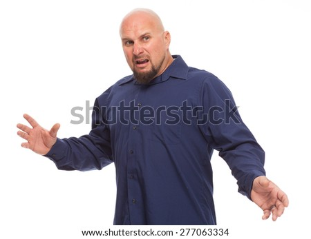 Portrait of bald, handsome young man isolated on white background. Caucasian man with beard looking shocked. - stock photo