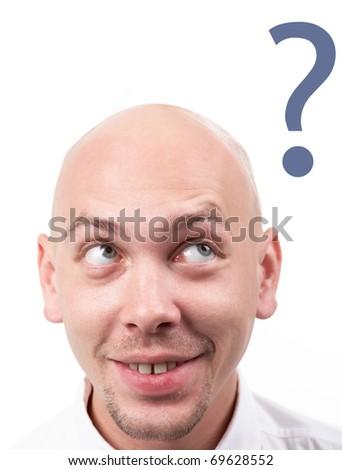 Portrait of bald male head having idea - stock photo