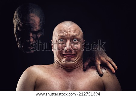 Portrait of bald scared man - stock photo